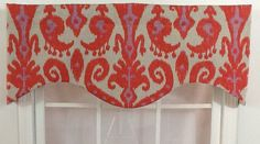Ikat shaped valance in red coral and lavender. $39.99, via Etsy.