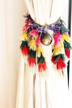Tassel curtain drape tie back - Bohemian / Boho Need to replicate in my Moroccan bath decor!