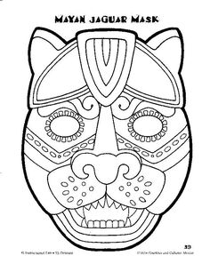 Aztec coloring pages for kids could find your for Aztec mask template