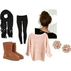 Black scarf and leggings, pink sweater, chestnut uggs