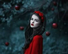 Very Snow White look but also love the flawless delicate look, red lips soft pale skin always looks stunning ♡