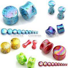 "2x Punk 6g-3/4"" Colorful Dots Acrylic Bar Ear Plug Flesh Tunnel Expander Gauges #Unbranded"