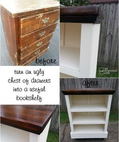 My Repurposed Life-change up an old chest of drawers or dresser into a useful bookshelf.