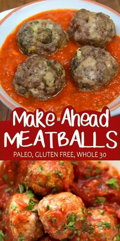 These Make Ahead Meatballs are a life saver! Make a big batch and freeze them. Then at dinner time you just need to reheat and eat! Even better, they are Paleo, Gluten Free and Whole 30 compliant! Whole 30 Meal Plan, Whole 30 Diet, Paleo Whole 30, Whole 30 Recipes, Whole 30 Snacks, Whole 30 Lunch, Gluten Free Recipes For Dinner, Dairy Free Recipes, Healthy Dinner Recipes