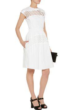 CarvenBroderie anglaise-paneled cotton dress