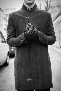 gray avant garde coat