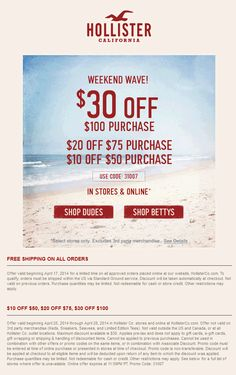 hollister 20 off entire purchase coupon