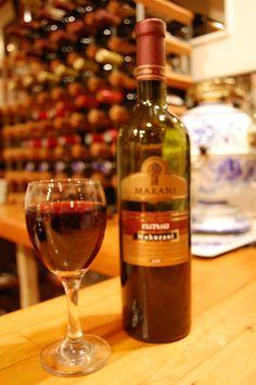 Georgian wines are served in The Russian Tavern. Featured: oak-kept Marani Makuzani Fine Wine, Georgian, Wines, Alcoholic Drinks, Bottle, Glass, Food, Georgian Language, Drinkware