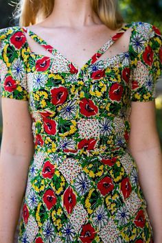 ETHEREAL 1940's Floral Maxi Dress Red by CarnivoreCockatiel