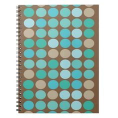Aqua Blue Teal and Brown Dots Modern Pattern Spiral Notebook- a cute notebook w/my original abstract geometric pattern and design. Brighten up your day at school or at the office with this cool modern notebook. Personalize with your name and add a photo, too. www.zazzle.com/abstractpaintings*/