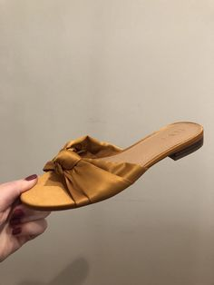 023f9d9cd864f7 ANN TAYLOR LOFT Gold Satin Knot Slides Sandal Sz 6.5  fashion  clothing   shoes  accessories  womensshoes  flats (ebay link)