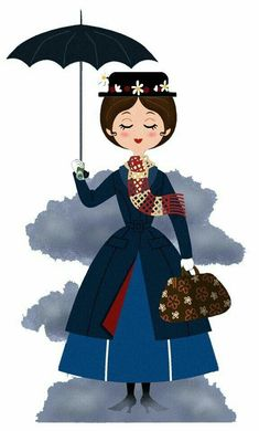 Mary in clouds Arte Disney, Disney Fan Art, Disney Love, Disney Magic, Disney Pixar, Disney Characters, Mary Poppins, Texture Illustration, Cute Illustration