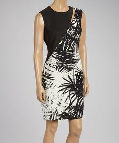 Look what I found on #zulily! Black & White Palm Cutout Sheath Dress by Cenia New York #zulilyfinds