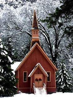 pretty church in snow