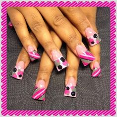 pink grey and black dots and stripes - Nail Art Gallery