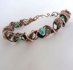 copper wire bracelet - copper bracelet - wire bracelet - bangle with mint green chandelier beads - wire woven - wire wrapped on Etsy, £32.84