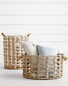 Religious Magic And Spiritual Ability Element One Give Your Baskets A Chic Upgrade Wilton Baskets Via Serena and Lily Home Decor Baskets, Basket Decoration, Baskets On Wall, Home Decor Items, Storage Baskets, Wicker Baskets, Rustic Baskets, Rope Basket, Basket Weaving