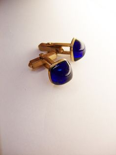 Cobalt Blue Deco Cufflinks Vintage  Wedding by NeatstuffAntiques, $35.00