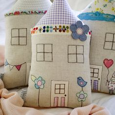 Cute... house pillows with embroidery and appique