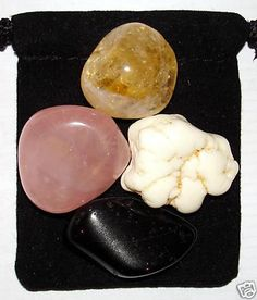POSITIVE THOUGHTS Tumbled Crystal Healing Set - 4 Gemstones w/Description & Pouch - Citrine, Magnesite, Rose Quartz, and Tourmaline. $4.99, via Etsy.