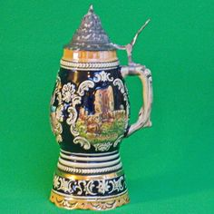 Vintage Musical Ceramic Lidded Beer Stien, German Landmarks, Plays Lorelei