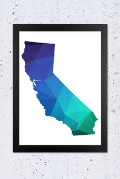 California Map Printable File, California Silhouette Geometric Green Blue Purple Colors.  **This listing is for a downloadable digital file to