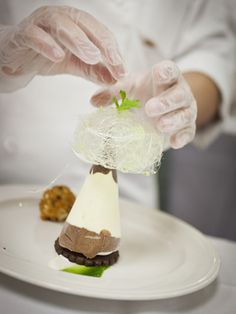 White chocolate mint parfait with a fried chocolate truffle I The Culinary Institute of America