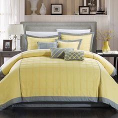 The Angevin Pintuck 3 Piece Duvet Set by Chic Home is a simple way to upgrade your bedding. This set includes a solid-colored duvet, available in. Yellow Comforter Set, Queen Comforter Sets, Duvet Sets, Elegant Home Decor, Elegant Homes, Pottery Barn, Ikea, Bed In A Bag, Bed Sets