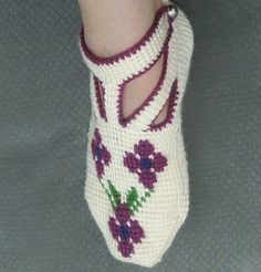 This Pin was discovered by gul Baby Knitting Patterns, Crochet Patterns, Booties Crochet, Crochet Slippers, Shoe Crafts, Tunisian Crochet, Fashion Sewing, Knitting Socks, Embroidery
