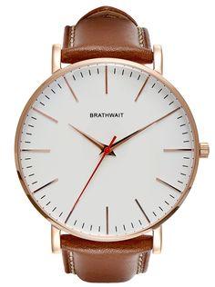 The classic slim wrist watch: Marron handmade Italian calf leather strap. #minimalist #watch #wristwatch #classic #handmade #leather #slim #mensfashion #rosegold