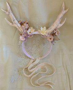 Whimsical Antler Headband... fairy fae pixie wedding flower girl fantasy fawn pan mori girl costume deer flower floral by Jada Dreaming on Etsy $80