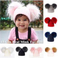 Sale Price $11.80, Buy LAURASHOW Baby Winter Real Mink Fur Ball Beanie Knit Hat Kids Warm Raccoon Fur Pom Poms Skullies Beanies Wool Cap