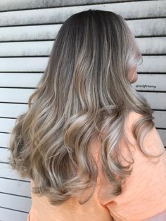Cool blonde balayage with root smudge by @askforamy