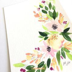 5 x 7 Original Watercolor by Lulu Ink Designs Floral Watercolor, Watercolors, Florals, My Etsy Shop, Ink, The Originals, Design, Floral, Water Colors