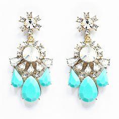 Crystal Twinkle Statement Earrings - aqua blue chandelier earrings by Shamelessly Sparkly $14.90