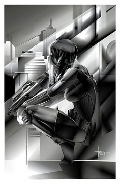 """Orlando Arocena Pays Homage To Masamune Shirow With A Stunning Tribute To """"Ghost In The Shell"""" Masamune Shirow, Motoko Kusanagi, Alone In The Dark, Manga Artist, Ghost In The Shell, Beautiful Anime Girl, Anime Fantasy, Sign Printing, Comic Book Characters"""