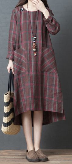 Modern low high design linen dresses Indian Tutorials khaki plaid shift Dresses side open spring Source by schaefti dresses indian Simple Dresses, Casual Dresses For Women, Trendy Outfits, Dresses For Work, Linen Dresses, Women's Dresses, Fashion Dresses, Shift Dresses, High Design