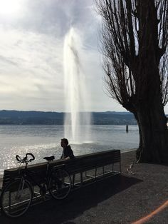 Having a break after the first of our biketour around the lake of Zurich