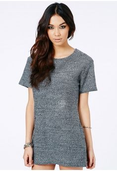 Naylia Knitted Shirt Dress - Dresses - Missguided