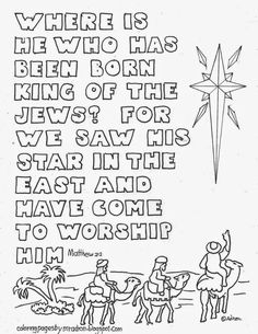Coloring Pages For Kids By Mr Adron Christmas Star With Wise Men And Matthew Bible Verse Page