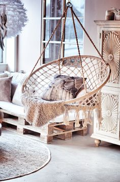 Pallet Furniture, Furniture Design, Tree Shop, Reclaimed Timber, Handmade Furniture, Wood Turning, Wood Pallets, Hanging Chair, Design Trends