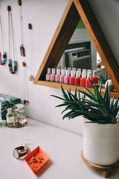 nail polish on MFEO triangle mirror, Stacy Anne Longeneckers Brooklyn apartment on Design*Sponge Home Interior, Interior And Exterior, Interior Design, Interior Decorating, Sweet Home, Home Design, Salon Design, Triangle Mirror, Triangle Shelf