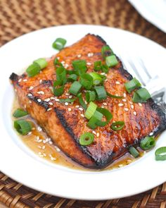 Toasted Sesame Ginger Salmon by abitchinthekitchen via buzzfed: MARINADE: olive oil + toasted sesame oil + rice vinegar + brown sugar + soy sauce + garlic + ginger + at least