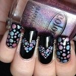 black nails with multi color  dot hearts