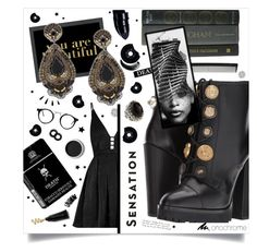 """""""All Black // Black Divine 🎥"""" by anduu19 on Polyvore featuring Americanflat, Anastasia Beverly Hills, Dolce&Gabbana, Free People, Ranjana Khan, Vision, Konstantino, T3, Terre Mère and CHESTERFIELD"""
