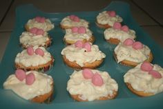 White chocolate topping and pink chocolate deco cupcake