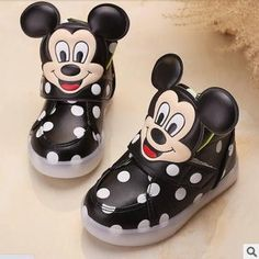 Tiny Baby Shoes | Mikey Mouse Black LED High Tops