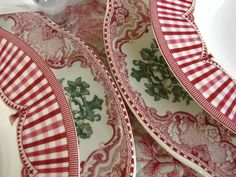 """Queen's China """"Rooster"""" combined with Johnson Bros. """"Old Britain Castles"""" (pink & green). Pretty combo..."""