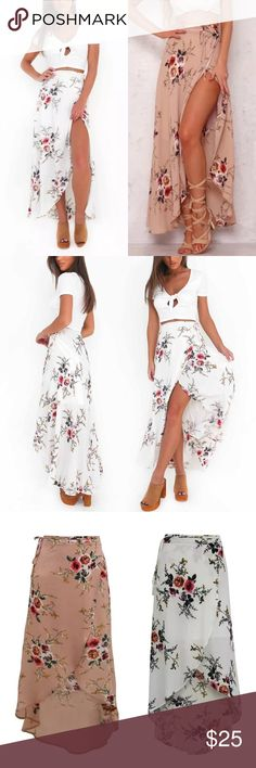 Floral Wrap Skirt A beautiful long white wrap around skirt with a gorgeous floral rose pattern. The skirt is soft and delicate and wraps around your waist then tyed with a small bow. Gives a very light and girly Hawaiian feel, perfect for summer.🌺 Francesca's Collections Skirts