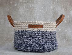 Handmade Crochet  Cotton Basket in cream/ by regreenyourlife